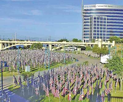 Volunteers erect one American flag