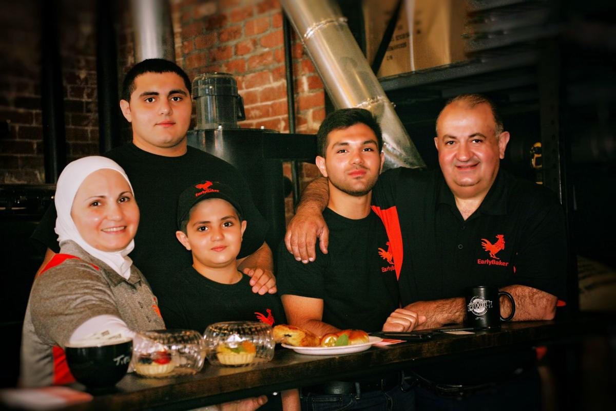 Adam and Kinana Halik posed for photographer Amy Aranyosi with their three sons as the  family prepared for next month's opening of their new Ahwatukee restaurant, Early Baker.