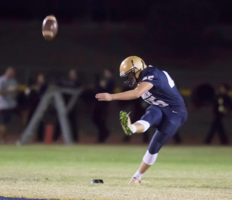 The Thunder's Matt Lewis kicks off during his team's contest last week with Gilbert High.
