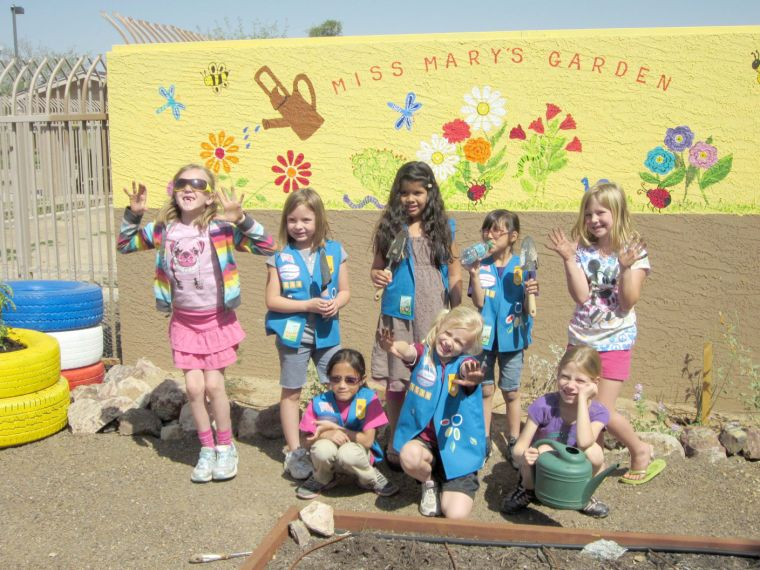 Girl Scout Troop 1538 are getting their hands dirty