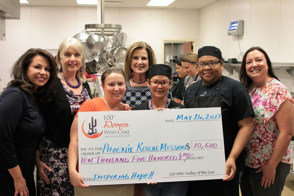 A check for $10,600 was presented to the Phoenix Rescue Mission by the folowing members of the 100+ Women Who Care East Valley, all in the back row, from left: Carina Burtell, Mary Jordan, Kim Tarnopolski and Jacqueline Destremps. Michelle Rader is in the middle holding the giant check, flanked by two unidentified women.