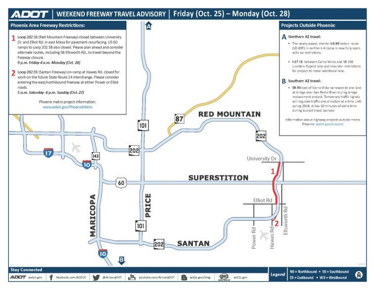 Weekend freeway advisory map