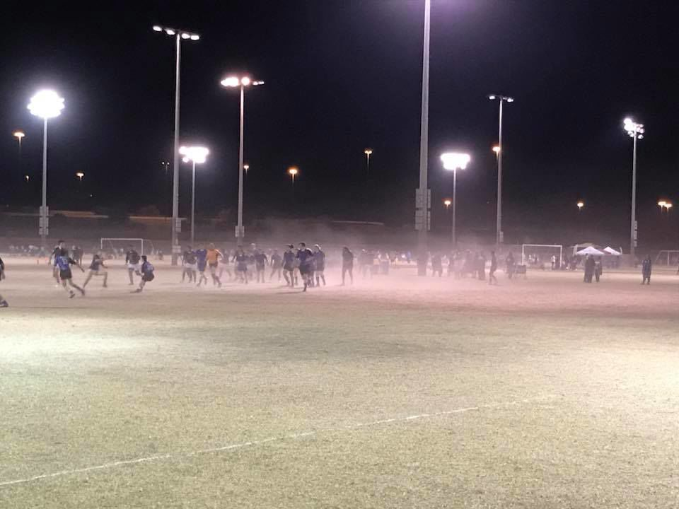 Angry and concerned parents posted pictures of the dusty conditions that existed at Pecos Park Friday night when the Ahwatukee and Scottsdale rugby clubs were playing. City officials are promising to water down the fields to control the dust.