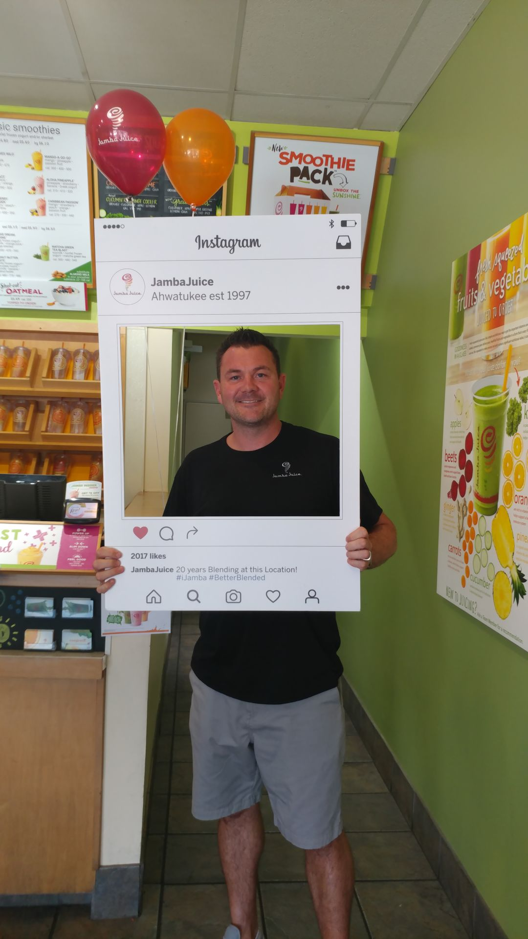 Scott Timmons, managing owner, is marking Jamba Juice's 20th year in Ahwatukee.