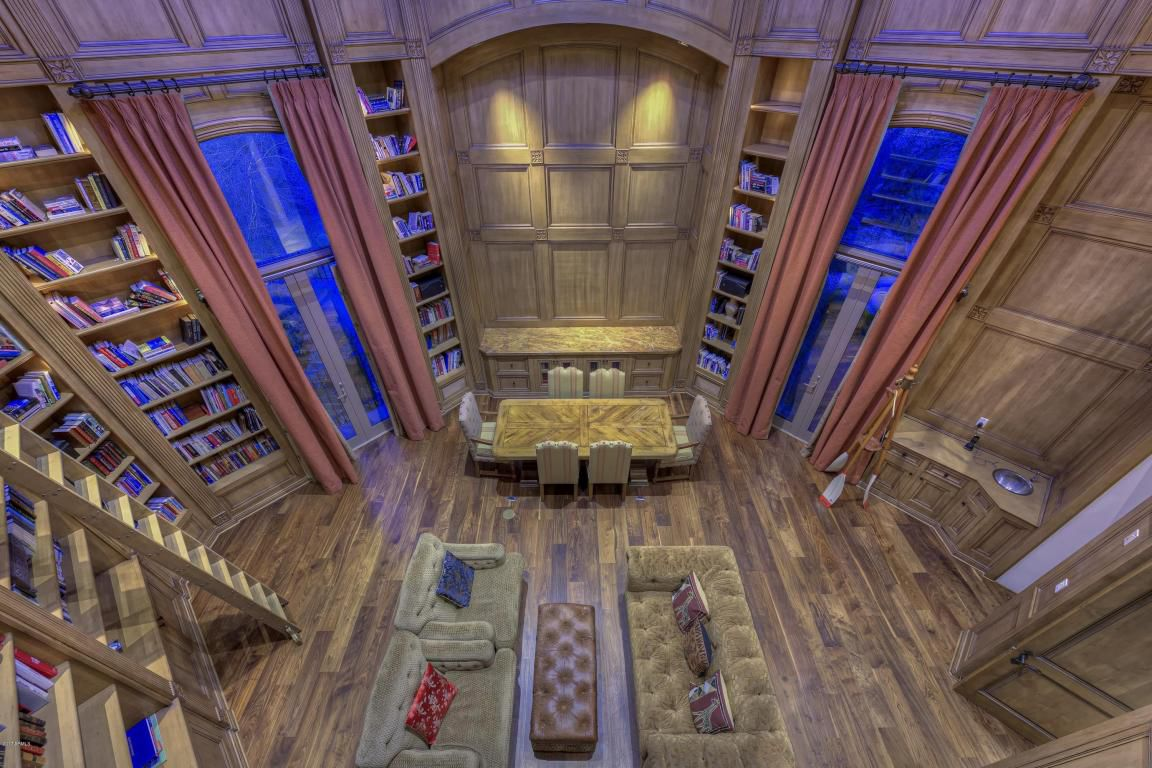 "The ""Harry Potter library"" with a retractable roof that senses rain or other factors and will move back in place if it's open"