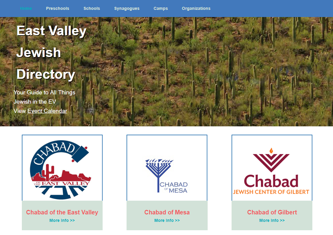 The front page of the East Valley Jewish Directory brings together, among other organizations, the Chabad groups of the East Valley, Mesa, and Gilbert.
