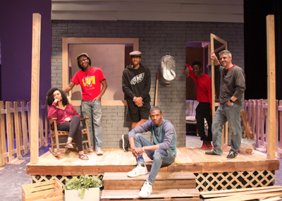 """Mountain Pointe students in the """"Fences"""" cast are, from left, Janae Jesse, Nehemiah """"Nemo"""" Wright, Grant Cunningham (with hat), Kentrell Henderson (sitting) and Noah Butler. Director Corey Quinn is on the right. Not pictured: Kendrick Horton."""