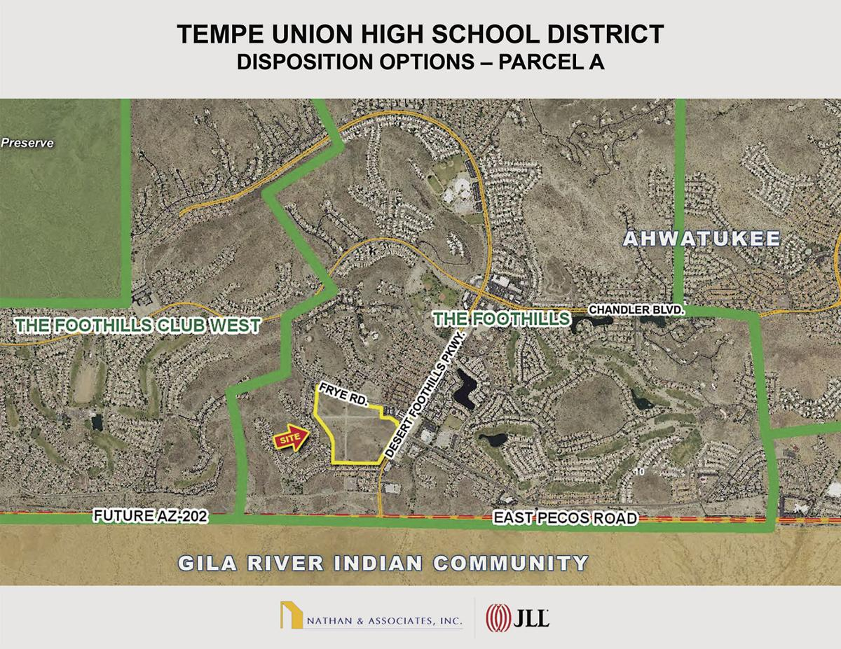 This map, from a presentation to Tempe Union school board members by Nathan and Associates, shows the 63-acre site, bordered in yellow, that the district is selling.