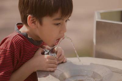 Little boy drinking public water in the park