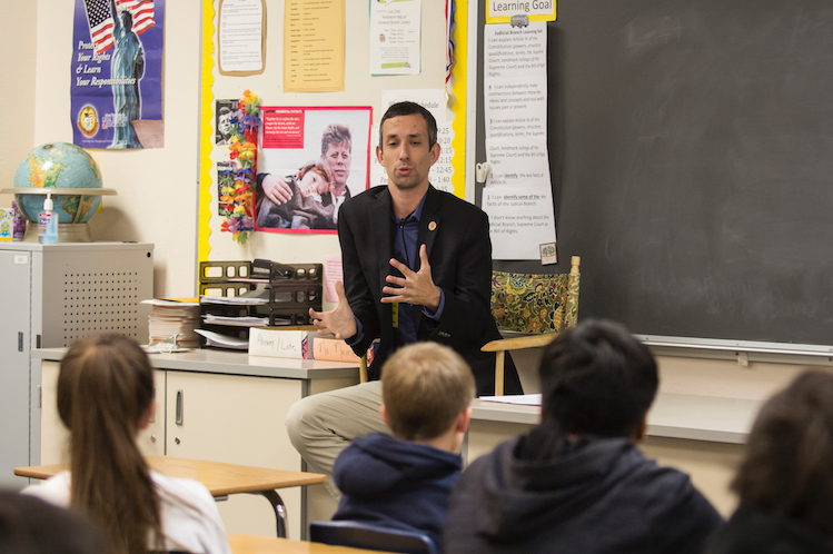 Ahwatukee State Sen. Sean Bowie talks to an eighth-grade social studies class at Altadena Middle School, the last stop on his tour of all 45 public and public charters in his district.