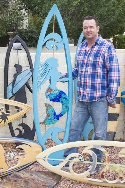Matt Hanson of Ahwatukee is passionate about surfing and the environment, so he thinks finding an artistic use for surfboards is a good way to pay homage to his favorite activity and spare landfills from boards that take hundreds of years to disintegrate. The former Air Force lieutenant colonel makes his art pieces in his home.