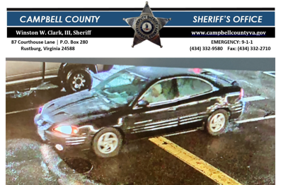 CAMPBELL COUNTY SHERIFF'S OFFICE REQUESTING PUBLIC ASSISTANCE IN IDENTIFYING VEHICLE AND OWNER