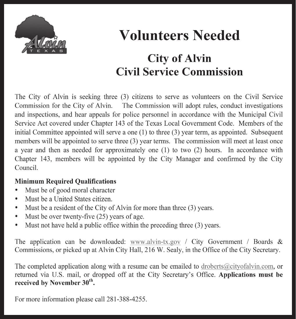 Volunteers Needed City of Alvin Civil Service