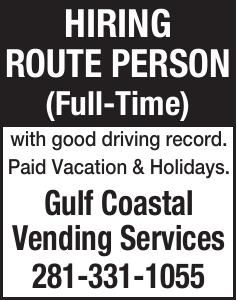 HIRING ROUTE PERSON [Full-Time]