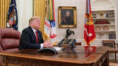 Courtesy of Shealah Craighead via JNS U.S. President Donald Trump participates in a Christmas Day video teleconference from the Oval Office on Dec. 25, 2018.