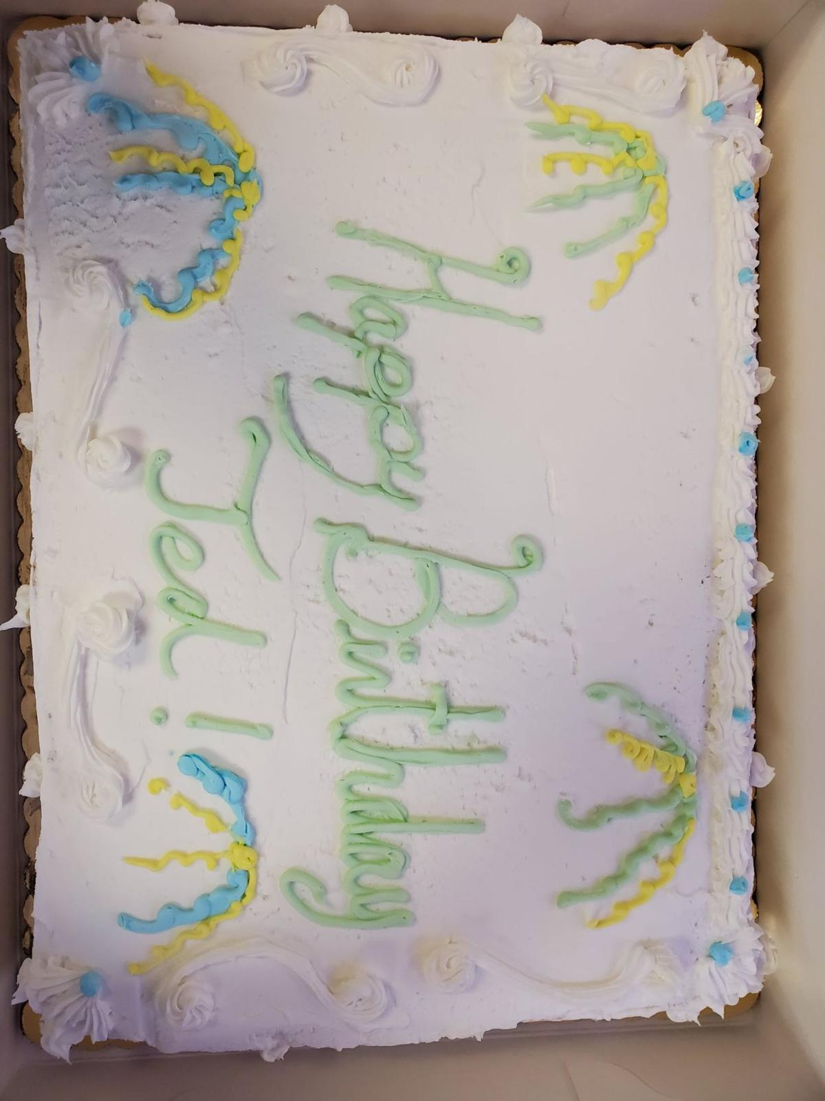 A birthday cake made for Ted Deutsch