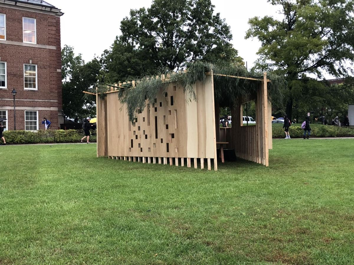 A class at the College of Design, Architecture, Art, and Planning UC built a shukkah as part of its curriculum.