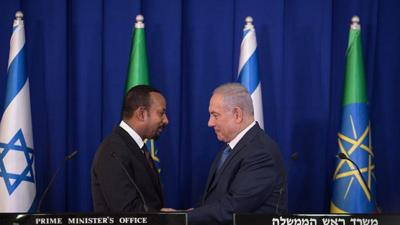 Courtesy of Hadas Parush/Flash90 via JNS.  Israeli Prime Minister Benjamin Netanyahu and Ethiopian Prime Minister Abiy Ahmed during a joint press conference at the Prime Minister's Office in Jerusalem on Sept. 1, 2019.
