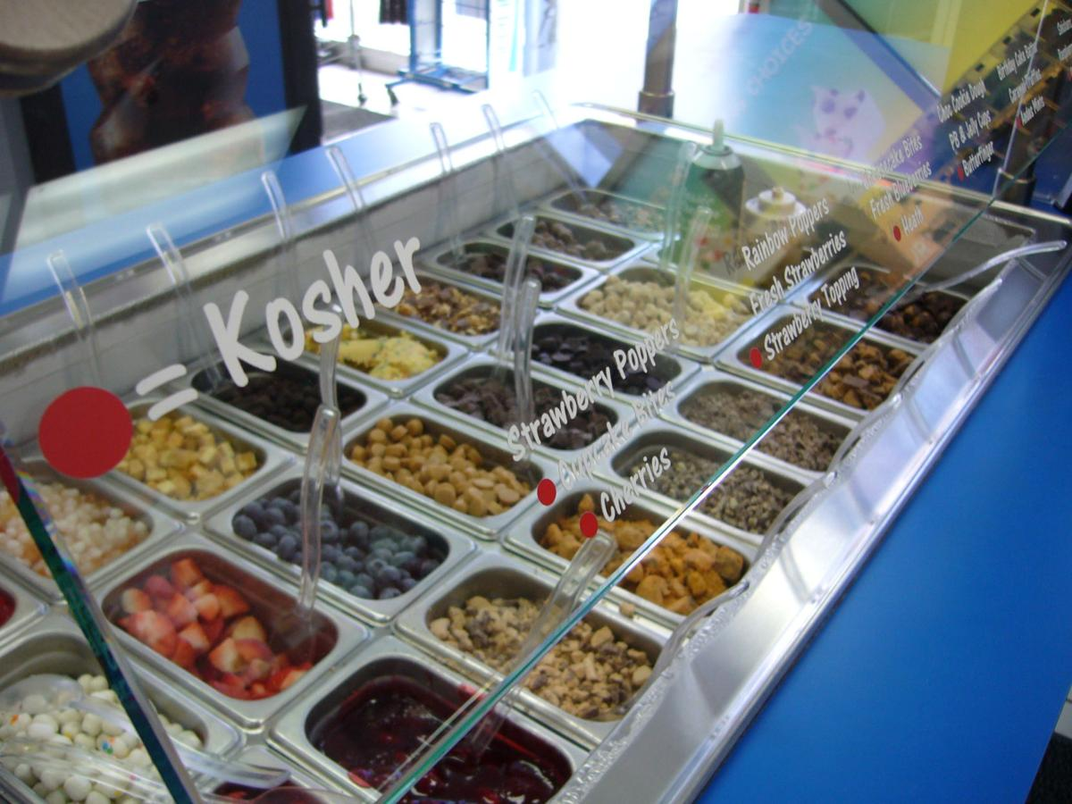 One of the toppings bars in the shop that includes Kosher toppings.
