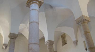 Courtesy of JTA The four pillars of the Synagogue of Tomar, Portugal
