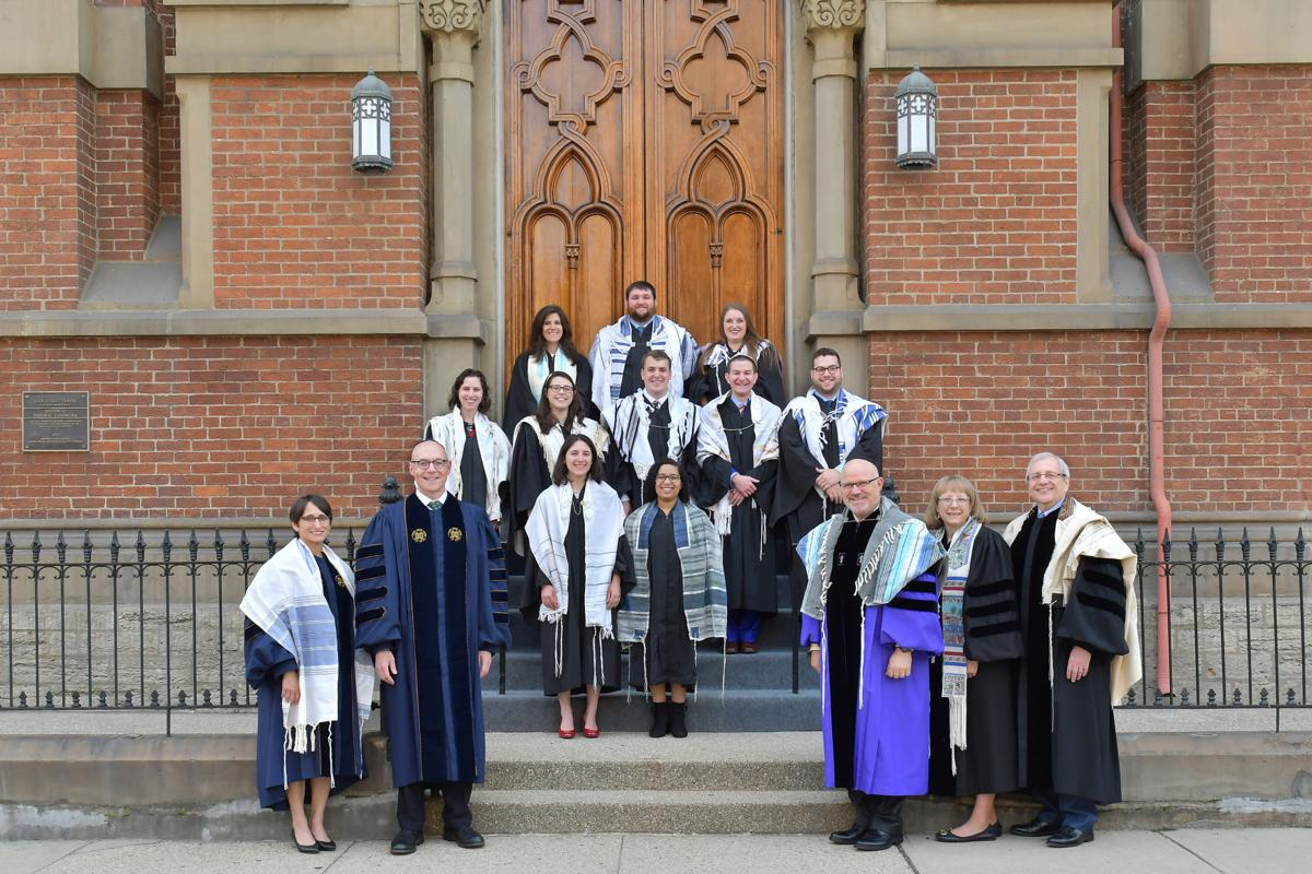 At the ordination of Hebrew Union College-Jewish Institute of Religion were, from left in first row: Rabbi Andrea L. Weiss, provost; Andrew Rehfeld, president; Rabbi Jonathan L. Hecht, dean; Rabbi Julie S. Schwartz, associate dean; Rabbi Jan D. Katzew, director of the Rabbinical School; second row: Rabbi Samantha Schapera, Rabbi Isaama Goldstein-Stoll; third row: Rabbi Allyson Resnik-Jacobson, Rabbi Bailey Romano, Rabbi Joseph Rosen, Rabbi David Bloom, Rabbi Zachary Goodman; back row: Rabbi Rachel Gross-Prinz, Rabbi David Reinhart, and Rabbi Jordan Cohan.
