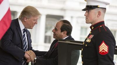Courtesy of JNS; Credit: Official White House Photo by Shealah Craighead.   U.S. President Donald Trump welcomes Egyptian President Abdel Fattah el-Sisi on April 3, 2017, at the West Wing entrance of the White House in Washington, D.C.