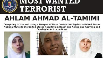 """Courtesy of JNS An FBI """"Most Wanted Terrorist"""" poster for Palestinian terrorist Ahlam Ahmad al-Tamimi, one of the masterminds of the Aug. 9, 2001 bombing of the Sbarro pizzeria in Jerusalem."""