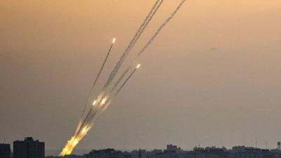 Courtesy of JNS Photo credit: IDF  Rockets fired from the Gaza Strip on July 14, 2018.