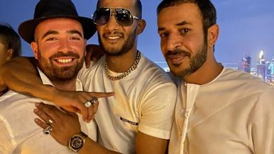 Courtesy of JNS  Israeli singer Omer Adam (left) in a picture with famous Egyptian singer and actor Mohamed Ramadan (center).