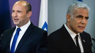 Courtesy of JTA; Photo credit: Yonatan Sindel and Amir Levy. Naftali Bennett, left, will be Israel's next prime minister, to be succeeded by Yair Lapid, right.