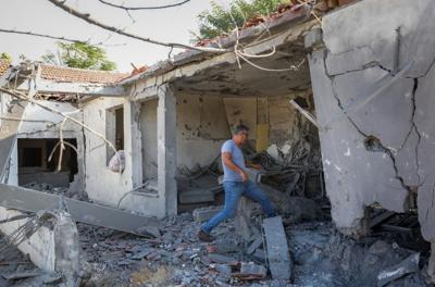 A home in the southern Israeli city of Ashkelon was destroyed by a rocket fired from Gaza on Nov. 13, 2018.