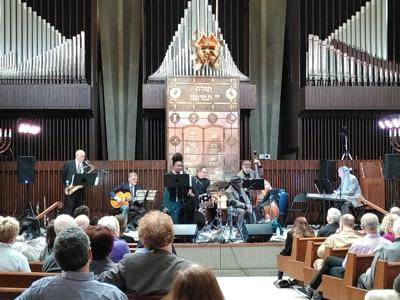 Some of Cincinnati's talented jazz musicians performed Broadway jazz standards at Rockdale Temple.