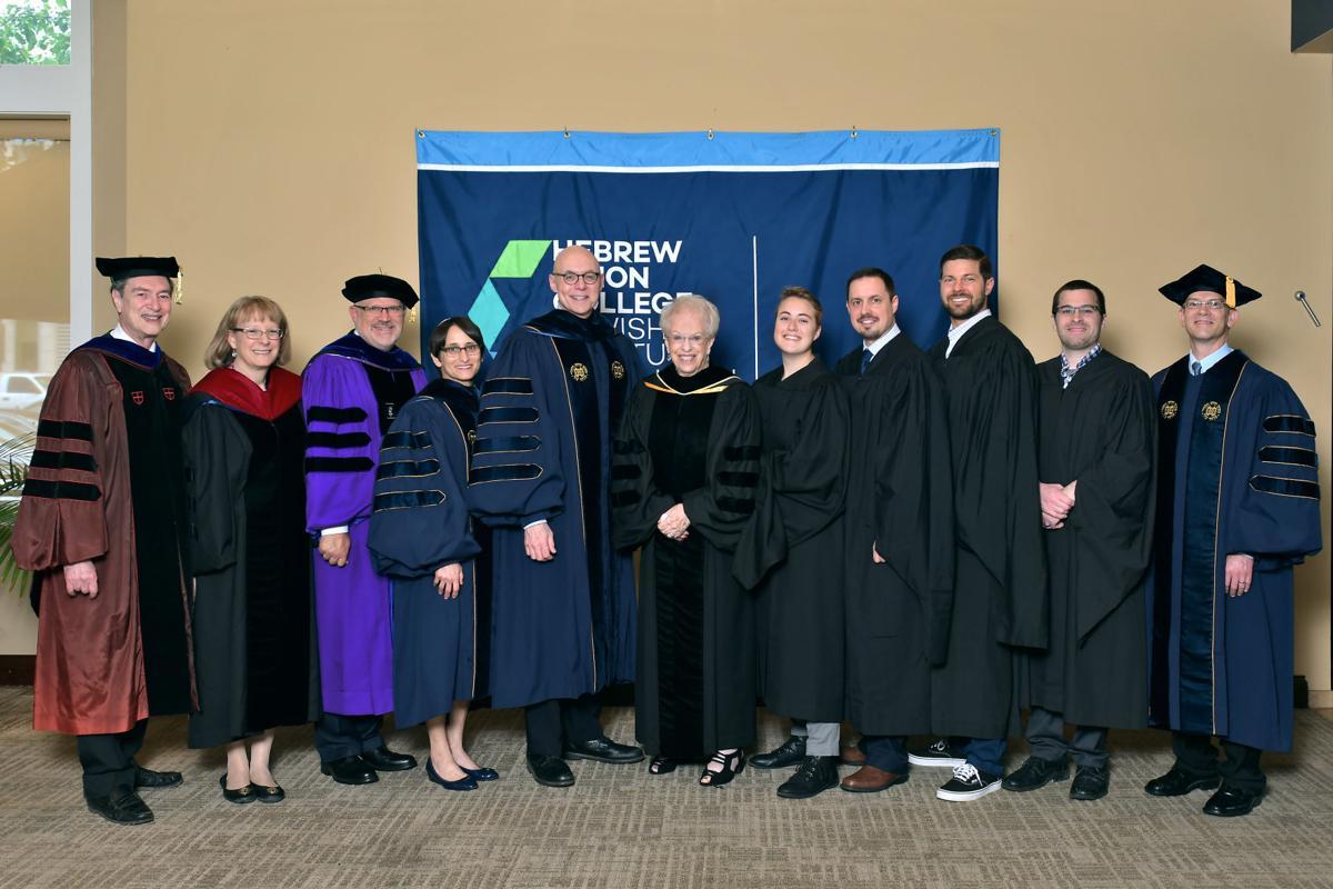 The graduates of Hebrew Union College-Jewish Institute of Religion included, from left: Dr. Richard S. Sarason, director of the Pines School of Graduate Studies; Rabbi Julie S. Schwartz, associate dean; Rabbi Jonathan L. Hecht, dean; Rabbi Andrea L. Weiss, provost; Andrew Rehfeld, president; Joan Pines; Pines School of Graduate Studies students, Sara Yeager, Steven L. Donnally, Eric Anthony Barrios, Keith R. Vande Vrede, Gregory Allen Snyder (not in photograph: Cameron P. Sapaugh).
