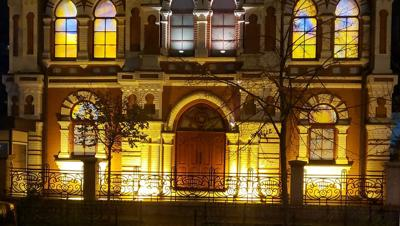 Courtesy of JTA; Photo Credit: Rabbi Yaakov Dov Bleich  The glass-stained windows glow at the Great Choral Synagogue in Kyiv, Ukraine, Nov. 9, 2020.