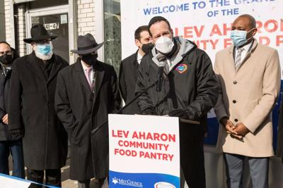 Courtesy of JTA Photo credit: Met Council David G. Greenfield, CEO of Met Council, speaks at the grand opening and ribbon cutting of The Lev Aharon Community Food Pantry in Kew Gardens Hills, New York on Jan. 28, 2020.