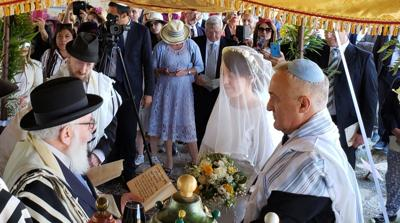 Courtesy of Shavei Israel via JTA Roque Pugliese and Ivana Pezzoli getting married at the Bova Marina Synagogue in Calabria, Italy on June 4, 2019.