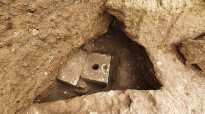 Courtesy of JNS; Photo credit: Yuli Schwartz, Israel Antiquities Authority. Ancient toilet found in Jerusalem on Oct. 5, 2021.