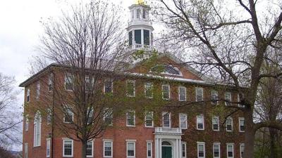 Courtesy of Beyond My Ken/Wikimedia. via JNS   Griffin Hall of Williams College on Main Street in Williamstown, Mass.