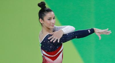 Courtesy of JTA Aly Raisman competing in the Olympic Games in Rio de Janeiro, Brazil in 2019.