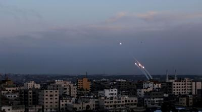 Courtesy of Mahmoud Issa via JTA Rockets are fired from Gaza toward southern Israel in this photo from May 5, 2019.