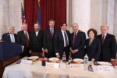 Sen. Robert Menendez; Sen. Tim Kaine; Ezra Friedlander, CEO The Friedlander Group; David Eisner, Assistant Secretary for Management U.S. Dept. of Treasury; Harley Lippman; Emil A. Fish, a member of the U.S. Commission for the Preservation of American Heritage Abroad; Lesley Weiss former chair of U.S. Commission for the Preservation of American Heritage Abroad; and Dr. Gary Zola.