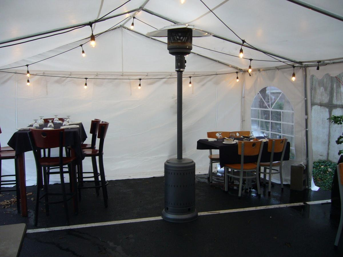 Inside the recently erected outdoor dining tent behind China Gourmet