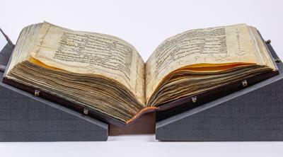 Courtesy of JTA The 1,000-year-old Washington Bible is on display at the Museum of the Bible in Washington DC.