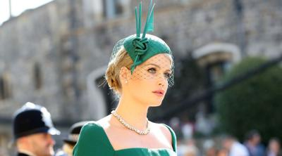 Courtesy of JTA Lady Kitty Spencer arrives for the wedding ceremony of her first cousin, Britain's Prince Harry, to U.S. actress Meghan Markle, at Windsor Castle on May 19, 2018.