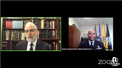 Courtesy of JTA  Surgeon General Dr. Jerome Adams advises rabbis on how to prepare for the High Holidays in a call with the Orthodox Union, Sept. 1, 2020.