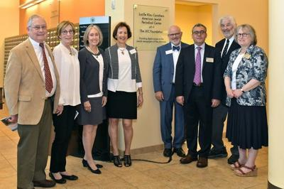 """At the dedication of the the Lucille Klau Carothers American Jewish Periodical Center at HUC-JIR were, from left, Tom Carothers, Annette Carothers, Gail Stern, Ellen Kerr, family members of Lucille """"Twink"""" Klau Carothers; Rabbi Jonathan L. Hecht, Ph.D., dean of the Cincinnati campus, HUC-JIR; Yoram Bitton, director of Libraries; Dr. David Gilner, director of Libraries Emeritus; Laurel Wolfson, library director, Cincinnati campus."""