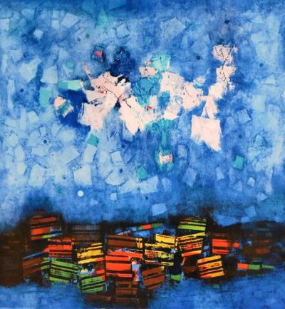 Mordecai Ardon, To the Morning Star, lithograph, 1973. Skirball Museum; gift of Nancy M. Berman and Alan J. Bloch.