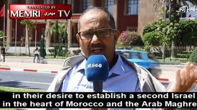 Courtesy of JNS.  Ahmed Wihmane, president of the Moroccan Observatory against Normalization with Israel, is seen during an interview with Hespress Internet TV (Morocco), Aug. 27, 2019.