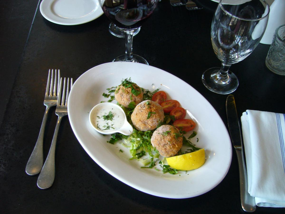 Café Mediterranean  serves Turkish-style kibbeh, which is ball-shaped and deep-fried.