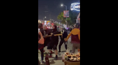 Courtesy of JTA; Photo credit: Screenshot. Pro-Palestinian demonstrators are captured on cellphone video physically attacking Jews and using antisemitic language at a restaurant in Los Angeles, May 18, 2021.